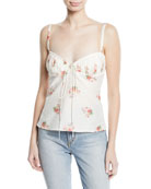 Tessie Orchid-Print Bustier Silk-Cotton Tank Top