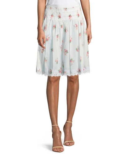 Floral-Embroidered Smocked-Waist A-Line Cotton Skirt