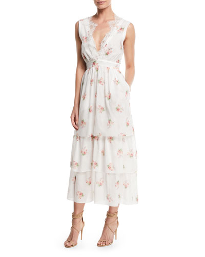 Sleeveless V-Neck Floral-Print Tiered Dress w/ Lace Trim