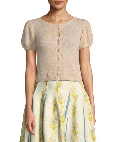 Kensie Crewneck Button-Down Cashmere-Silk Cardigan