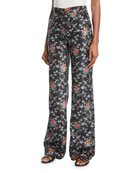 Brock Collection Trixie Sweetheart-Neck Rose-Print Silk Top and