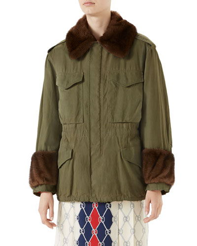Cotton Parka with Mink Fur