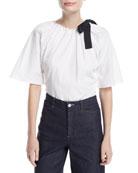 Short-Sleeve Open-Back Cotton Poplin Top