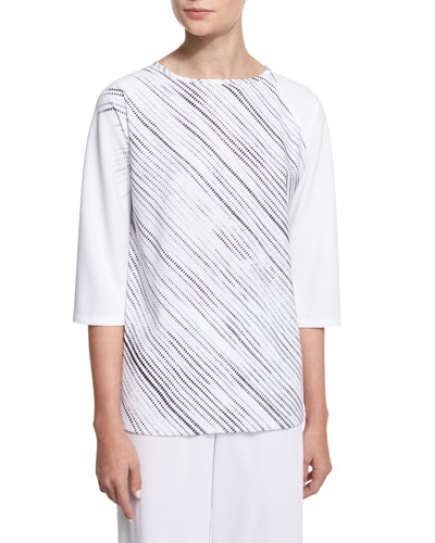 3/4-Sleeve Screen-Print Tunic