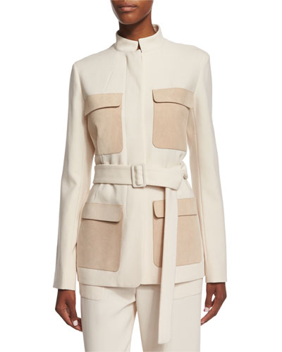 Slim-Fit Jacket W/Contrasting Pockets, Ivory Cream