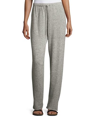 Superfine Cashmere/Silk Drawstring Sweatpants, Light Gray