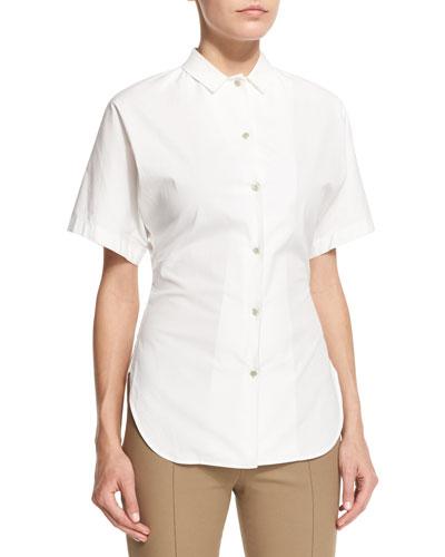 Liko Short-Sleeve Button-Front Shirt, White