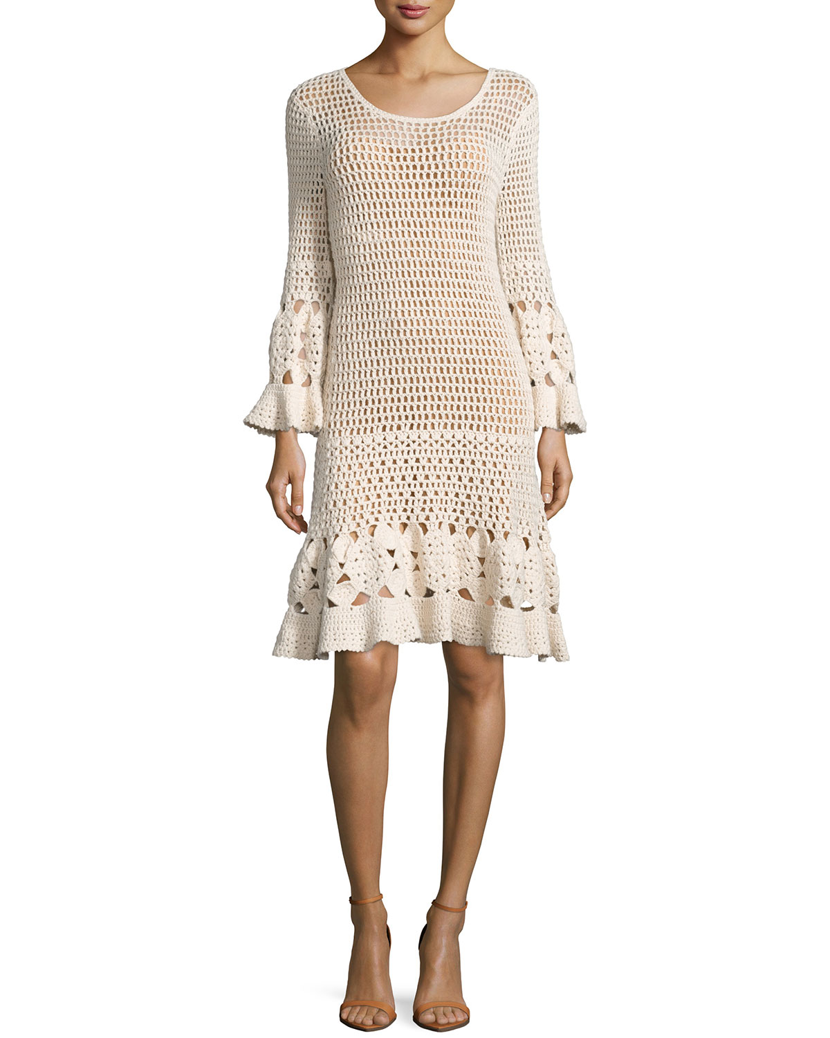 Long-Sleeve Crochet Dress, Vanilla