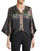 V-Neck Long-Sleeve Floral Paisley-Print Silk Satin Top