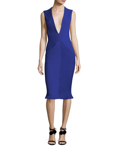 58680580a1 Quick Look. Brandon Maxwell · Sleeveless Deep V-Neck Pintucked Crepe Tulip  Cocktail Dress