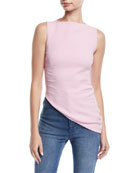 Sleeveless High-Neck Asymmetric-Hem Crepe Top