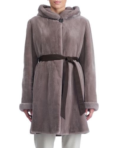 Sheared Mink Hooded Reversible Coat