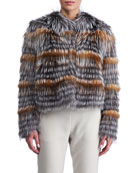 Fox Fur Cropped Layered Jacket