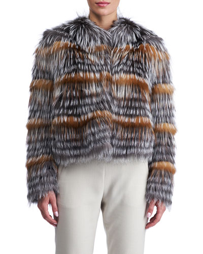 Fox Fur Cropped Layered Jacket