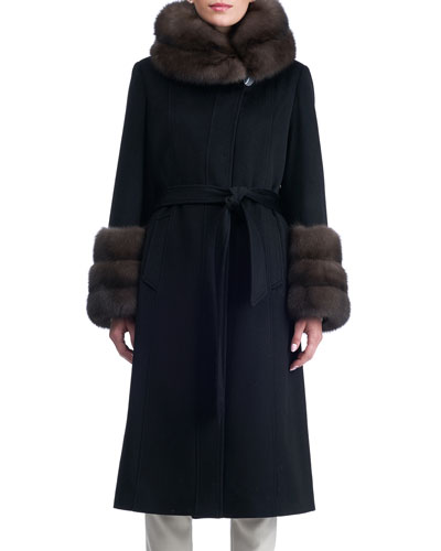 Belted Cashmere Coat with Sable Fur Collar & Cuffs