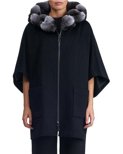 Zip-Front Cashmere Coat with Chinchilla Fur Hood Trim