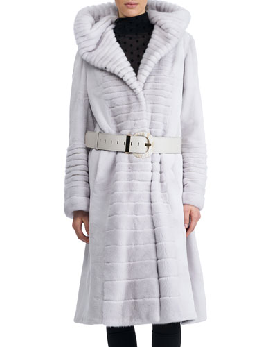 Belted Sheared Mink Coat with Hood