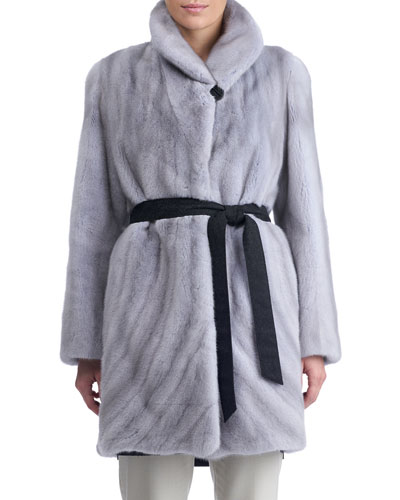 Directional Mink Fur Belted Reversible Coat