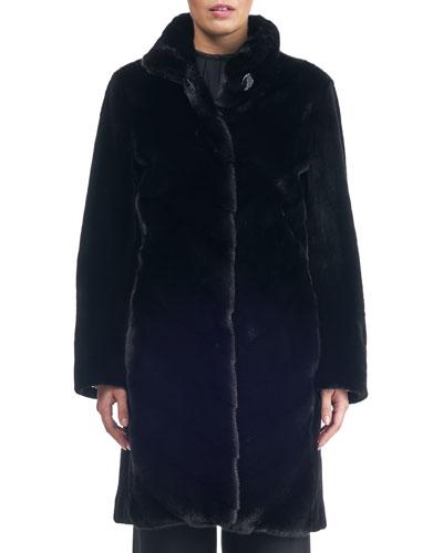 Chevron Sheared Mink Stroller Coat