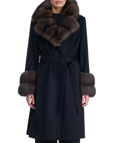 Belted Cashmere-Wool Coat with Sable Notched Collar and Cuffs