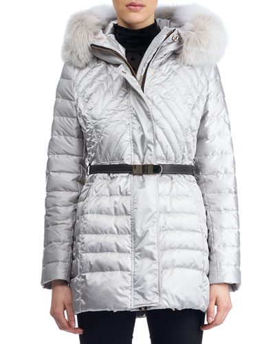 Apres-Ski Hooded Quilted Puffer Jacket with Fox Fur Trim