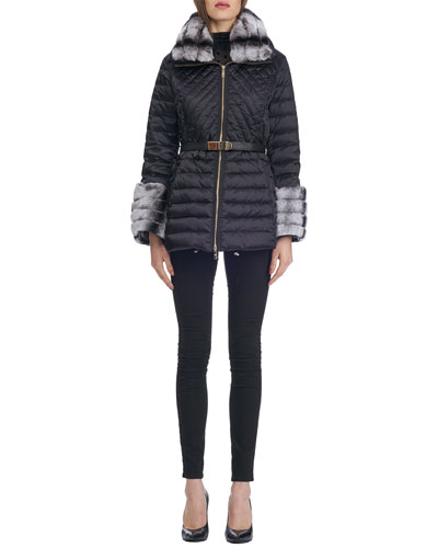 Zip-Front Belted Quilted Après-Ski Jacket with Rex Rabbit Fur