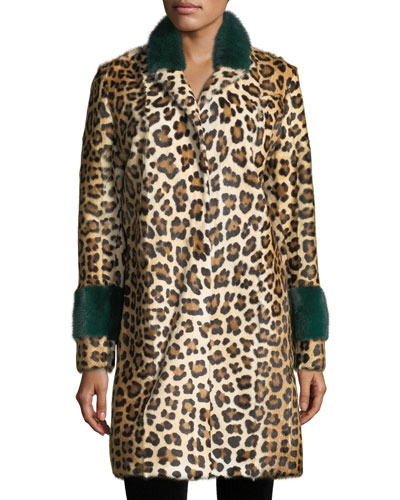 Animal-Print Button-Front Top Coat w/ Mink Cuffs
