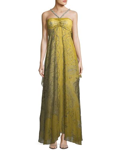 Chartreuse Cape Shoulder Evening Gown