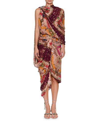 High-Neck Sleeveless Metallic Printed Draped Sari Dress
