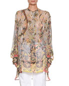 Sheer Oversized Printed Silk Tunic