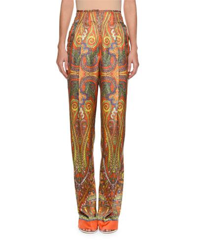 High-Waist Paisley-Print Silk Pants