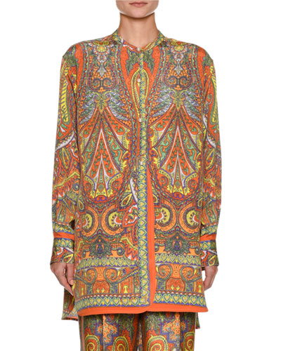 Paisley-Print Button-Front Silk Tunic