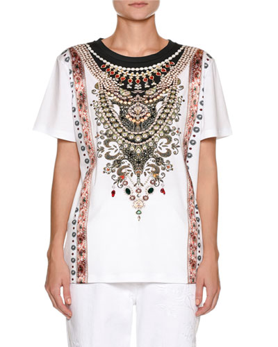 Crewneck Short-Sleeve Cotton T-Shirt with Jeweled Medallion