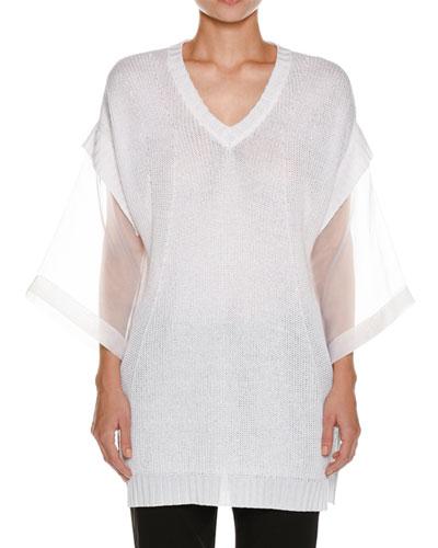 Organza-Sleeve Linen-Blend Knit Tunic