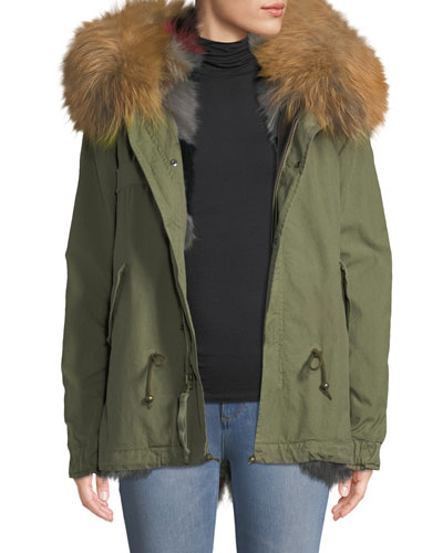 Army Shell Mini Parka with Multi Fur Fox