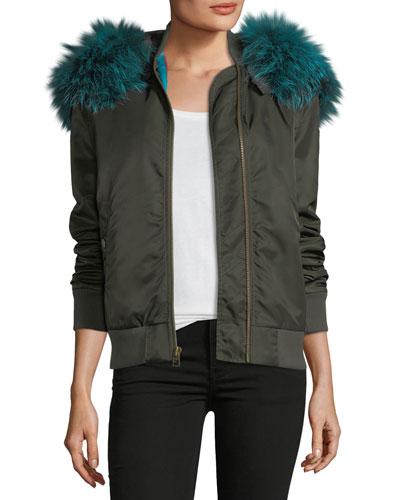 Zip-Front Bomber Jacket with Fox-Fur Trim