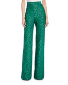 High-Waist Leopard-Jacquard Wide-Leg Pants