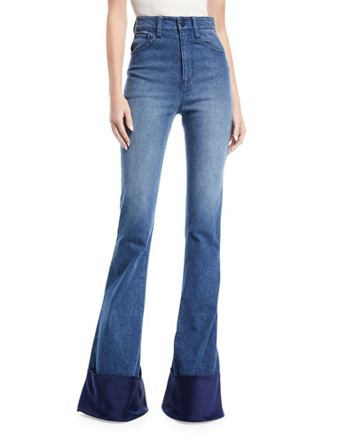 High-Waist Bell-Bottom Jeans with Satin Cuff