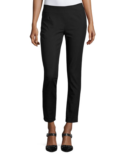 Catherine Slim-Leg Ankle Pants, Black