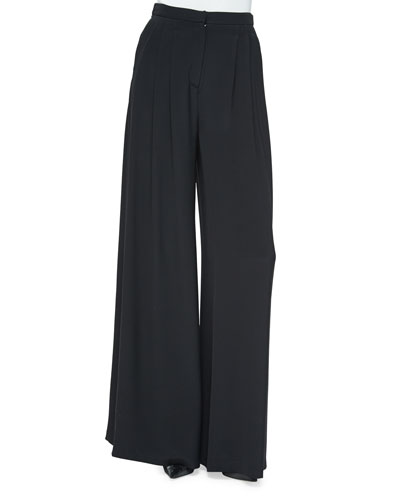 Wide-Leg Pants with Pleated Front
