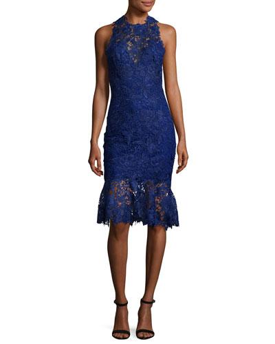 Sleeveless High-Neck Lace Flounce Dress, Navy