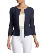 Zip-Front Pleated-Hem Peplum Jacket