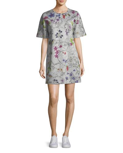 Short-Sleeve Floral-Print Sweatshirt Dress