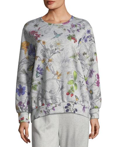 Long-Sleeve Floral-Print Bonded Jersey Sweatshirt