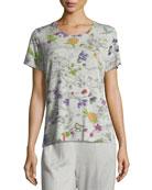 Short-Sleeve Crewneck Floral-Print Jersey Tee