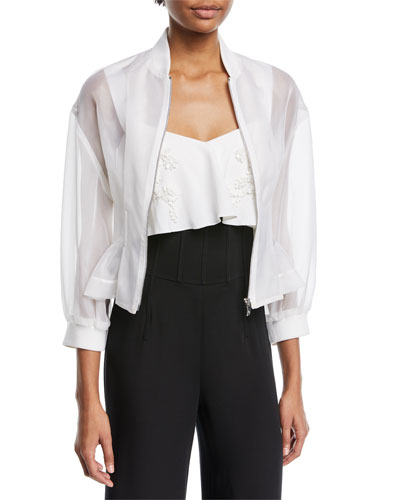 Zamara Unlined Peplum Bomber Jacket