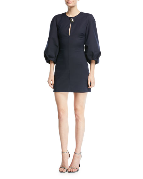 CUSHNIE Rosario 3/4-Sleeve Fitted Mini Dress with Abstract Button Trim