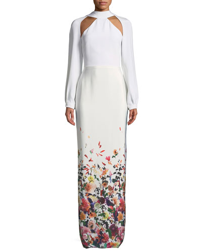 Davina Long-Sleeve Cutouts Floral-Ombre Long Evening Gown