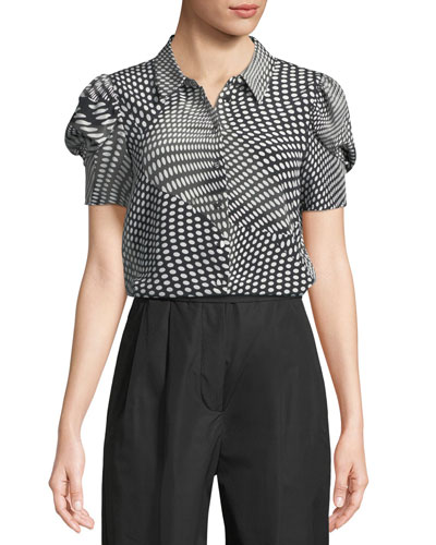 Optical Dot-Print Button-Front Silk Top