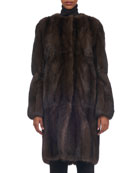 Vertical Sable Fur Stroller Coat